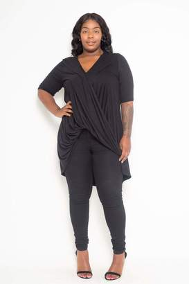 Couture Buxom Flowy Wrap Top in Black Size 1X