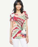 Ann Taylor Island Floral Piped Tee