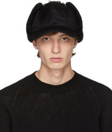 Prada Black Fur Flap Cap