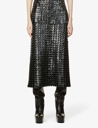 Paco Rabanne Pailette leather and brass midi skirt