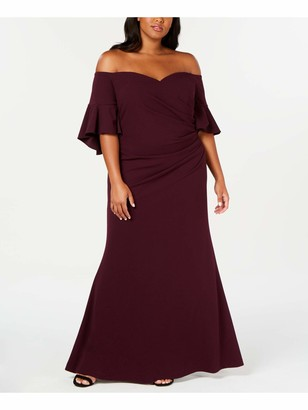 Calvin Klein Womens Purple Bell Sleeve Off Shoulder Full-Length Fit + Flare Evening Dress Plus Size: 20W