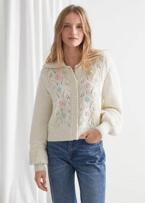 And other stories Floral Embroidery Cable Knit Alpaca Cardigan