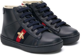 Gucci Kids Bee Web high-top sneakers