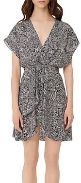 Maje Romela Asymmetric Animal Print Mini Dress