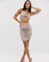 The Girlcode ruched side suedette midi skirt in grey