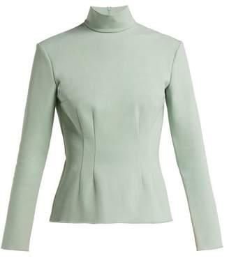 Vika Gazinskaya High Neck Stretch Jersey Top - Womens - Light Green