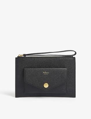 Mulberry Grain-leather pocket wristlet