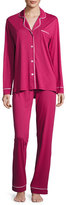 Cosabella Bella Long-Sleeve Pajama Set, Deep Ruby/Ivory