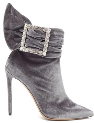 Alexandre Vauthier Yasmine Crystal-embellished Velvet Ankle Boots - Grey