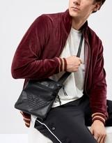 Armani Jeans Faux Leather Logo Flight Bag In Black