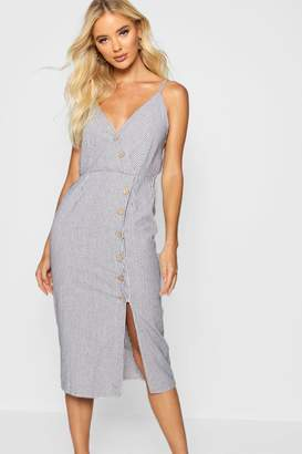 boohoo Button Front Cotton Stripe Midi Dress