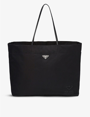 Prada Ladies Black Leather and Re-Nylon Tote