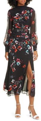 Nicholas Floral Print Sheer Long Sleeve Ruched Silk Maxi Dress