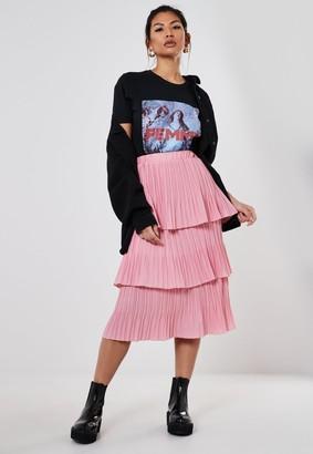 Missguided Pink Plisse Layered Midi Skirt