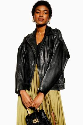 Topshop Womens Oversized Leather Biker Jacket - Black