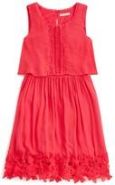 Ella Moss Girls' Crochet Trim Popover Dress - Sizes 7-14