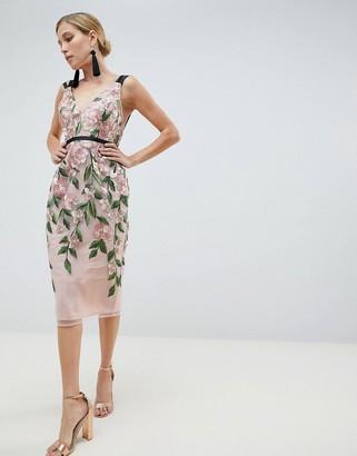 Asos Design DESIGN Floral Embroidered Pencil Midi Dress-Multi
