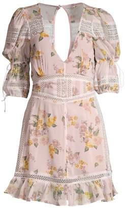 For Love & Lemons Isadora Lace-Trim Floral Dress