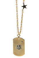 Gothic Skull and Lucky Star Dog Tag in Gold