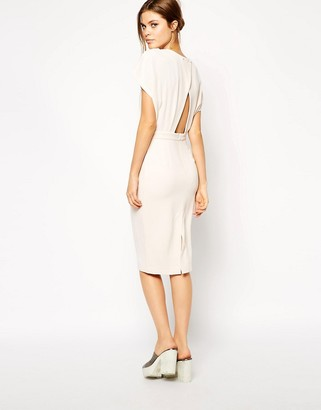 Asos Design Pencil Dress in Crepe with Cross Back-Beige