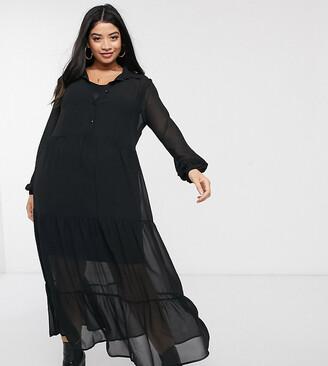 New Look Plus New Look Curve tiered chiffon shirt dress in black