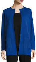 Misook Solid Long Jacket w/ Pockets, Lyons Blue, Plus Size