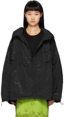 Juun.J Black Hooded Nylon Jacket