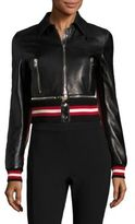 Givenchy Leather Zip Front Jacket