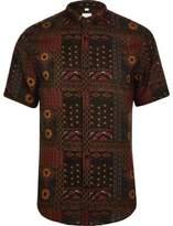 River Island Mens Red aztec slim fit short sleeve revere shirt
