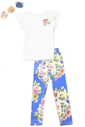 Mi Amore Gigi Little and Big Girls Interchangeable Flower Top and Floral Print Leggings