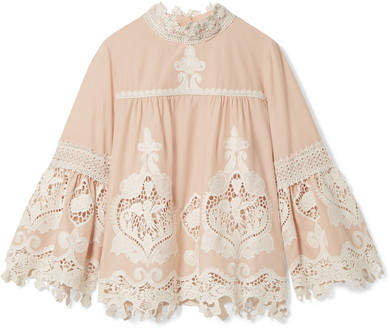 Anna Sui Cupid And Fairy Crocheted Lace-trimmed Cotton-gauze Blouse - Beige