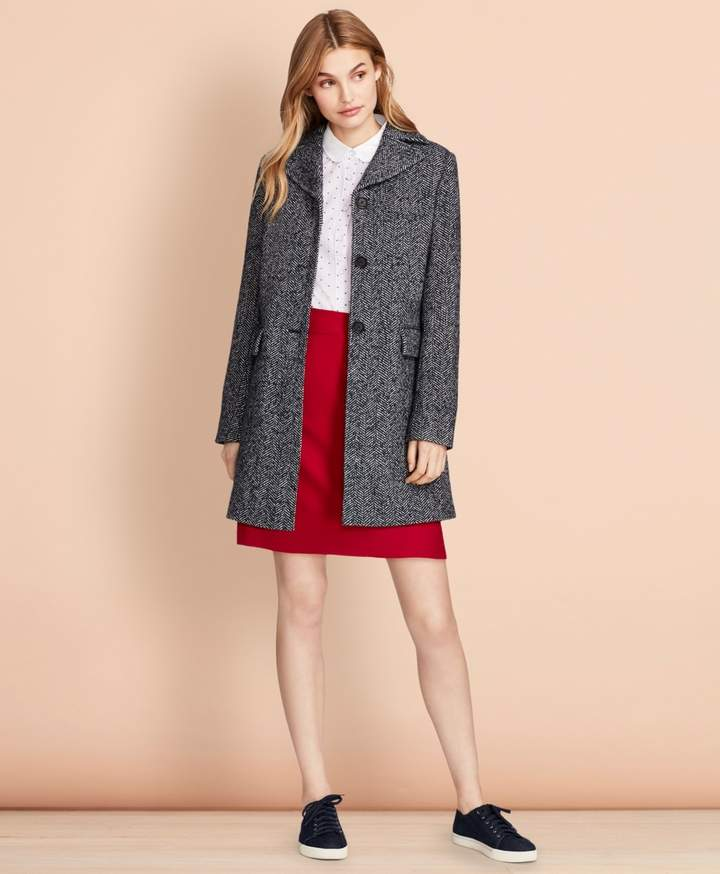 Brooks Brothers Herringbone Wool-Blend Swing Coat