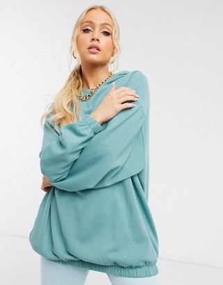 ASOS DESIGN super oversized cocoon hoodie with side pockets in teal