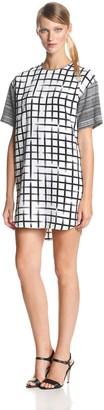 Ali Ro Women's Short Sleeve Color Block Shirt Dress