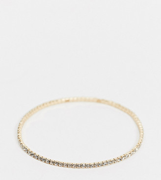 Asos DESIGN Curve stretch bracelet with crystal in gold tone
