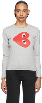 Comme des Garcons Grey Sideways Heart Long Sleeve T-Shirt