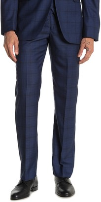 "Moss Bros Bright Blue Plaid Regular Fit Suit Separates Pants - 30-34"" Inseam"