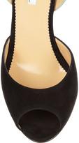 Oscar de la Renta Olga suede and patent-leather wedge sandals