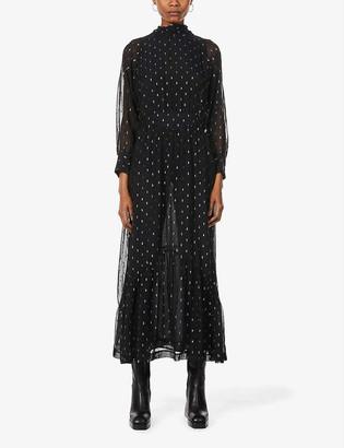 BA&SH Romy metallic-print organza midi dress