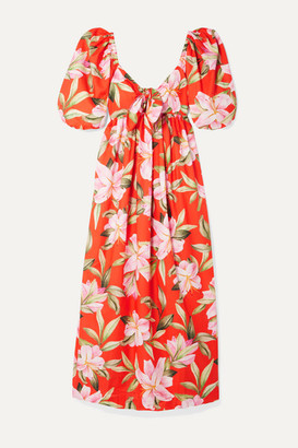 Mara Hoffman Net Sustain Violet Tie-front Floral-print Organic Cotton-voile Maxi Dress - Bright orange