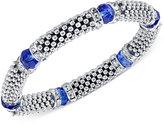 2028 Silver-Tone Stone and Crystal Metallic Beaded Stretch Bracelet