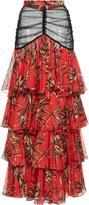 Rodarte Silk Chiffon Tiered Ruffle Skirt
