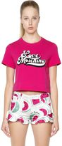 Love Moschino Printed Cropped Cotton Jersey T-Shirt