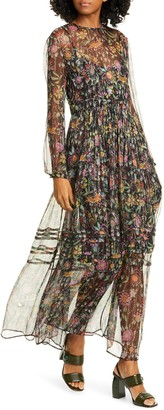 La DoubleJ Floral Metallic Stripe Long Sleeve Maxi Dress