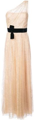 Marchesa Notte One-Shoulder Belted Glitter Dress