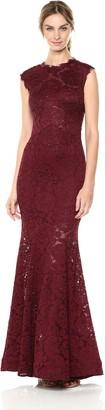 Betsy & Adam Women's Long Open Back Mermaid lace Dress