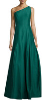Halston One-Shoulder Structured Ball Gown, Evergreen