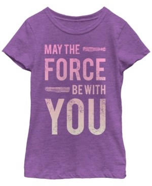 Fifth Sun Star Wars Big Girl's Force Be with You Lightsaber Short Sleeve T-Shirt
