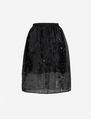 Quetsche Beaded organza midi skirt