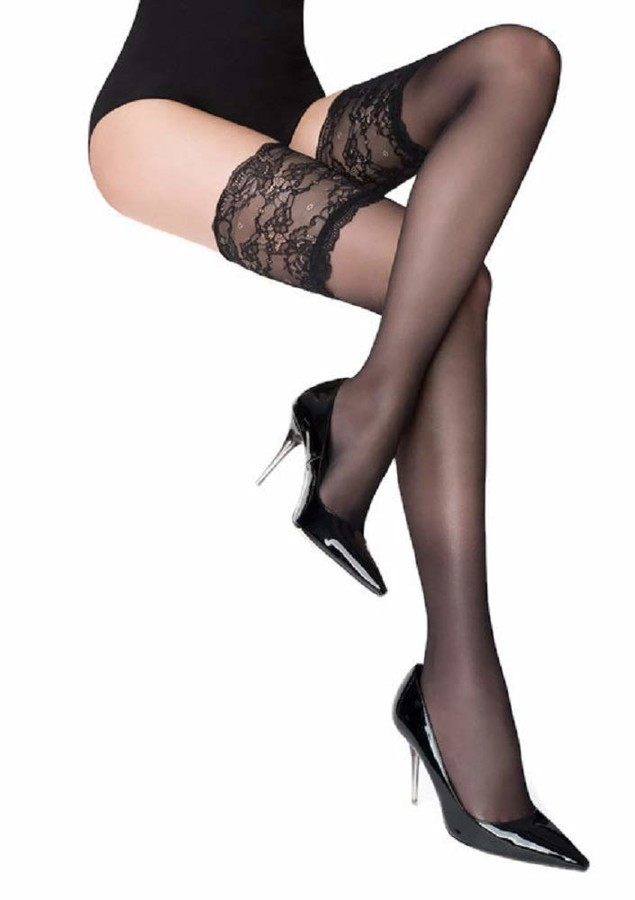 Marilyn Paris Wide Silicon Lace Top Holdups Thigh High Stockings - Black - 1/2 US Small/Medium